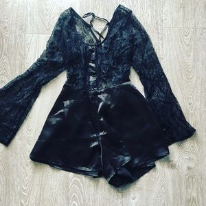 Beautiful satin & lace romper from LF - NWT